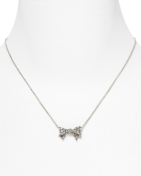 Juicy Couture Pavé Bow Wish Necklace